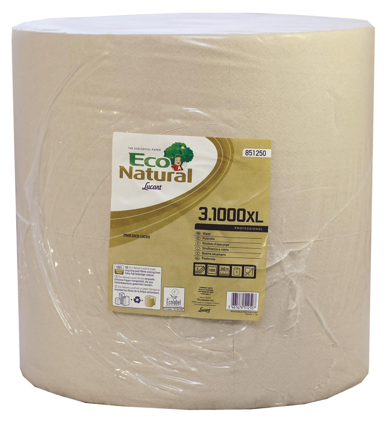 EcoNatural 1000 sheet 3 Ply Havana Wiping Roll