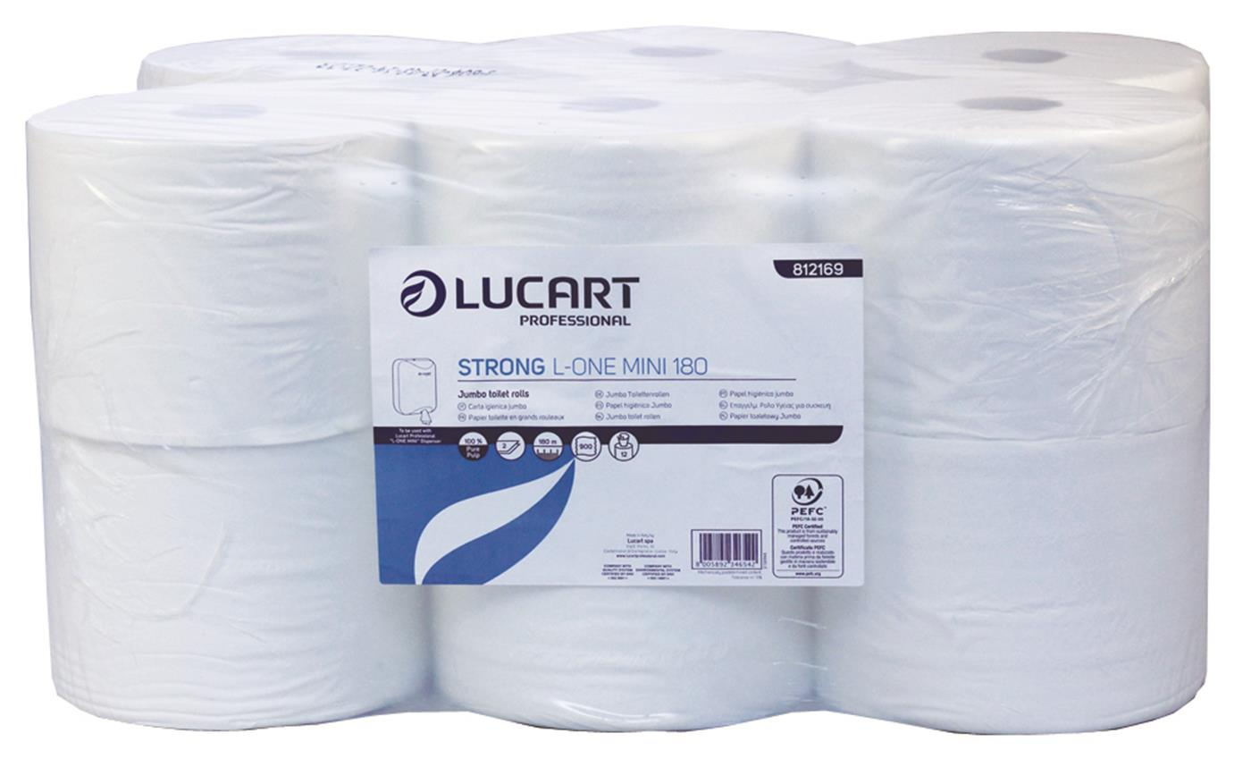 Lucart L-ONE Mini 180 White 2 Ply Centrefeed Toilet Roll