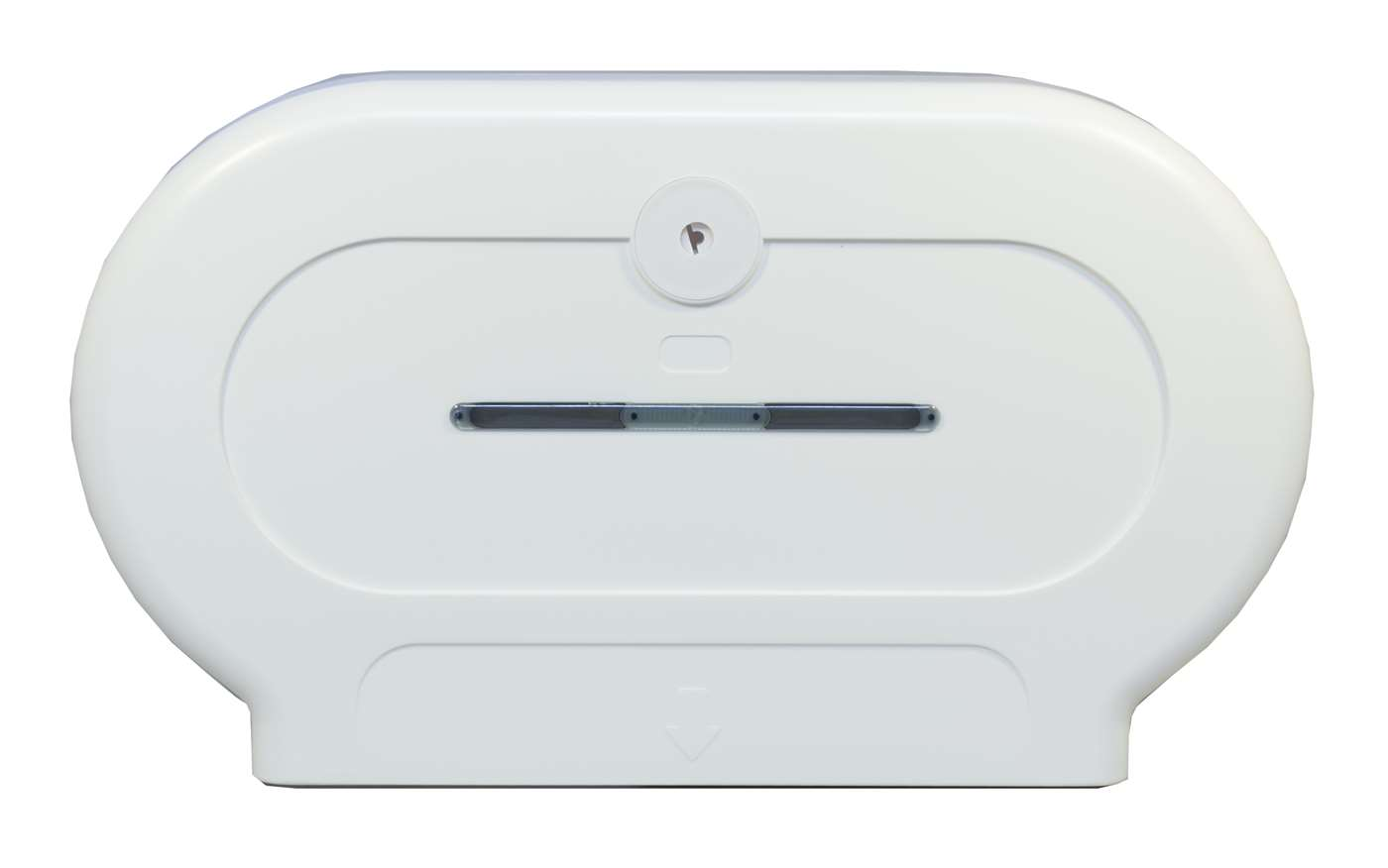 Twin Mini Jumbo Toilet Roll Dispenser in White Plastic