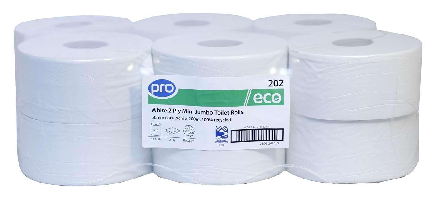 PRO Mini Jumbo Toilet Rolls 200m (60mm Core)