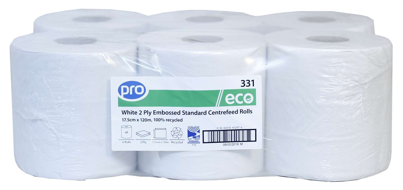 PRO White 2 Ply Centrefeed Roll 18cm x 120m