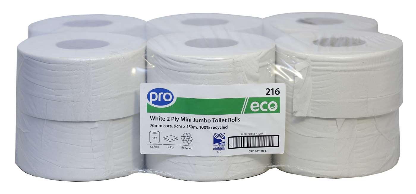 PRO Mini Jumbo Toilet Rolls 150m (76mm Core)