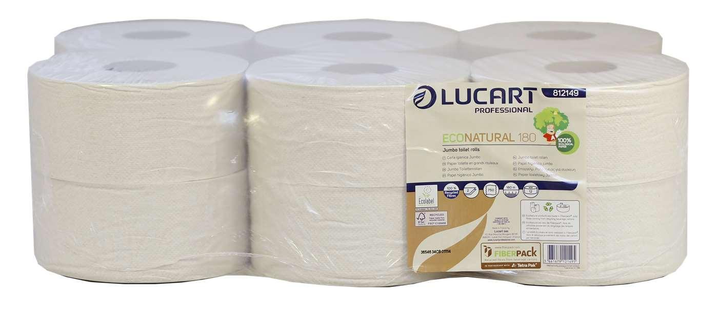 Lucart EcoNatural Mini Jumbo Toilet Rolls 180m (60mm Core)
