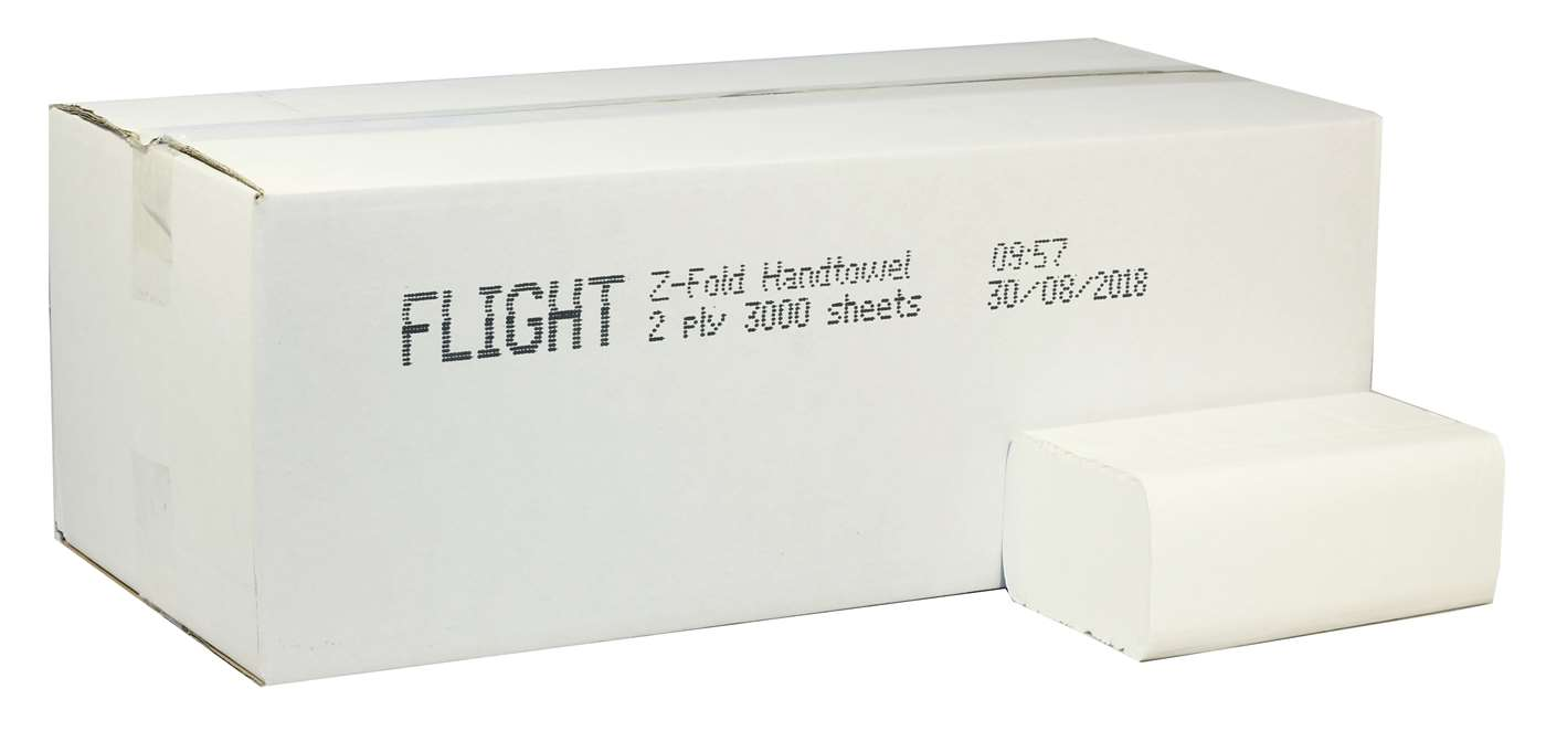 White 2 Ply Z-Fold Flushable Paper Hand Towel