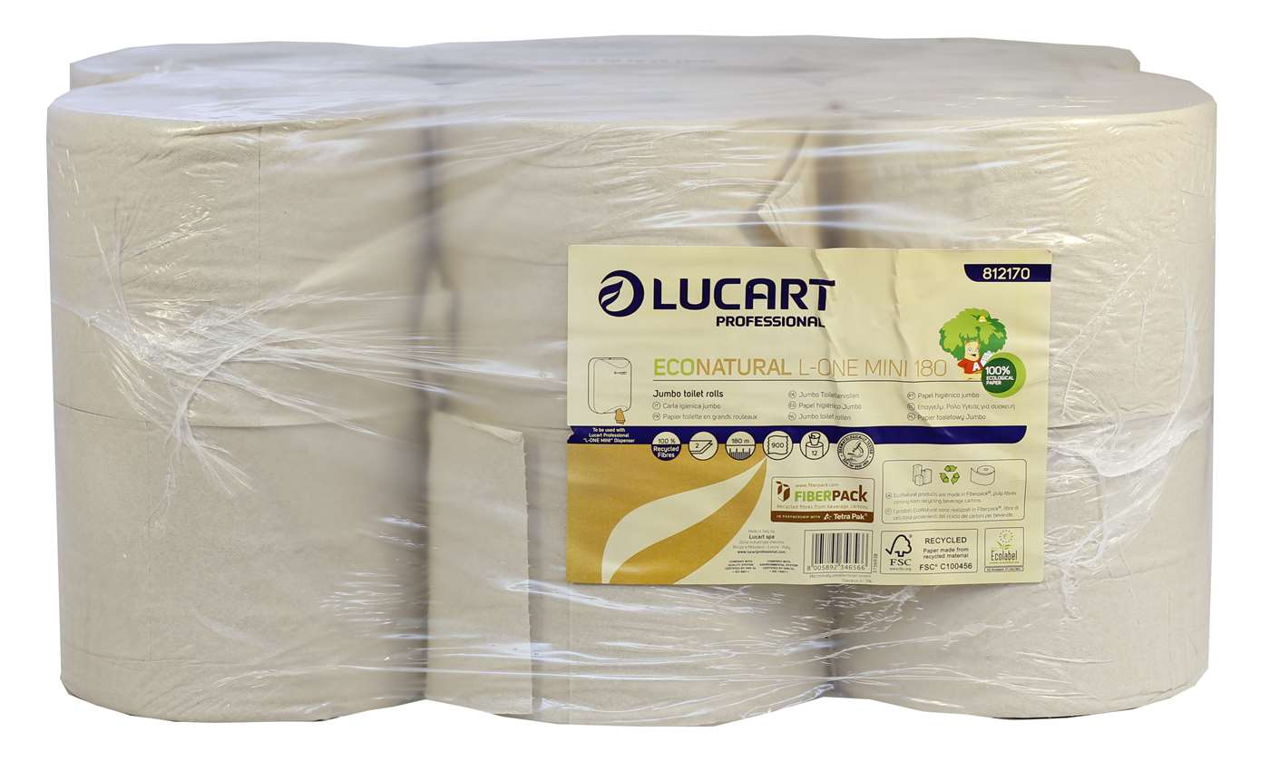 Lucart L-ONE Mini 180 EcoNatural 2 Ply Centrefeed Toilet Roll
