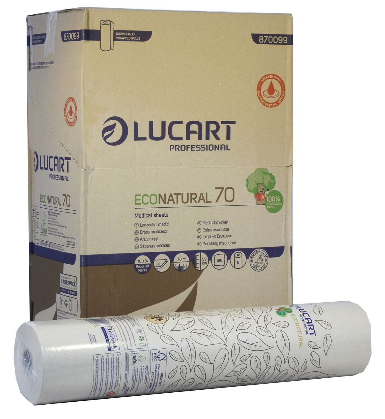 EcoNatural Havana Colour 2 Ply Couch Roll 59cm x 70m