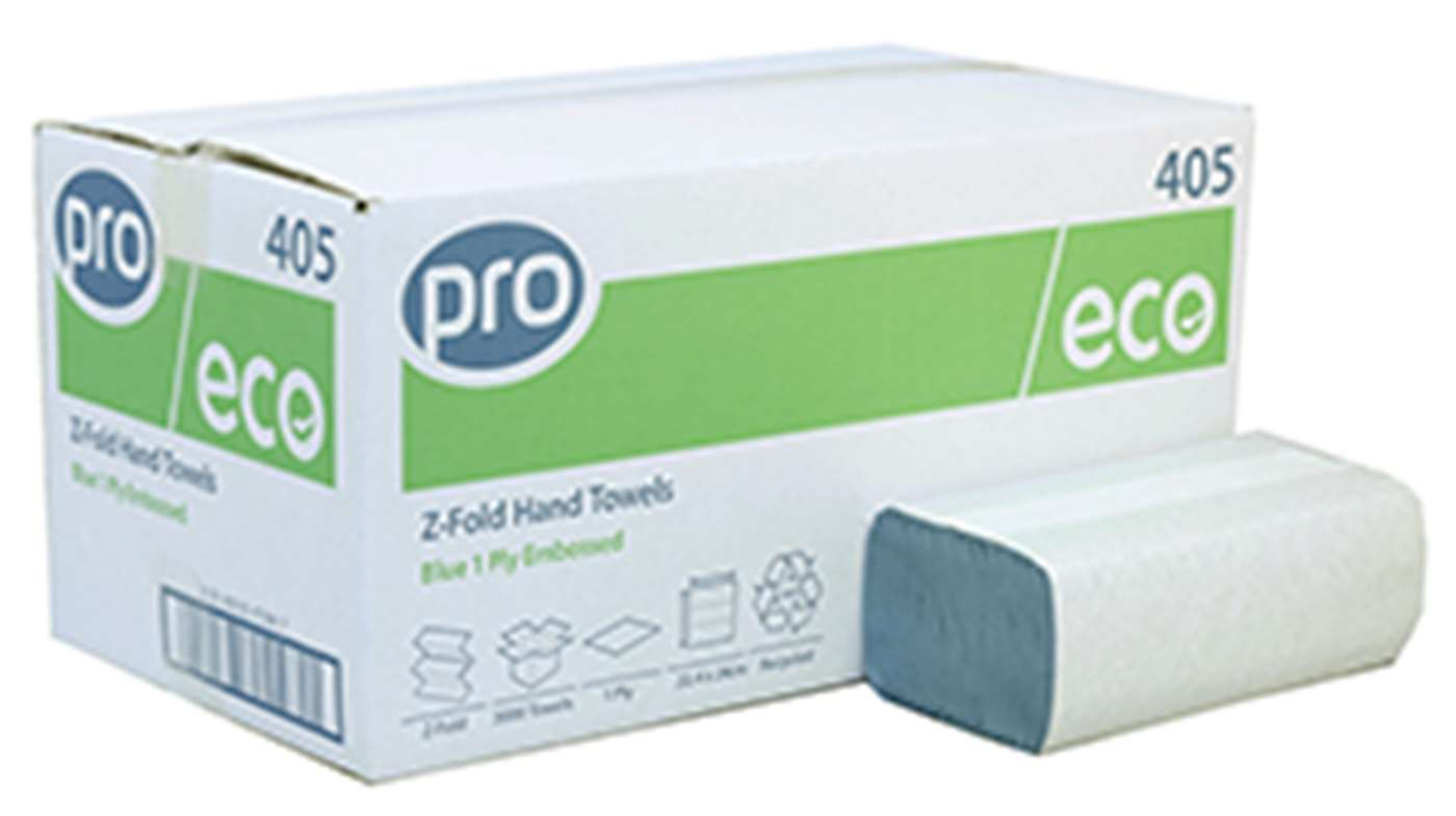 Z-Fold Blue Recycled 1 Ply Paper Towel
