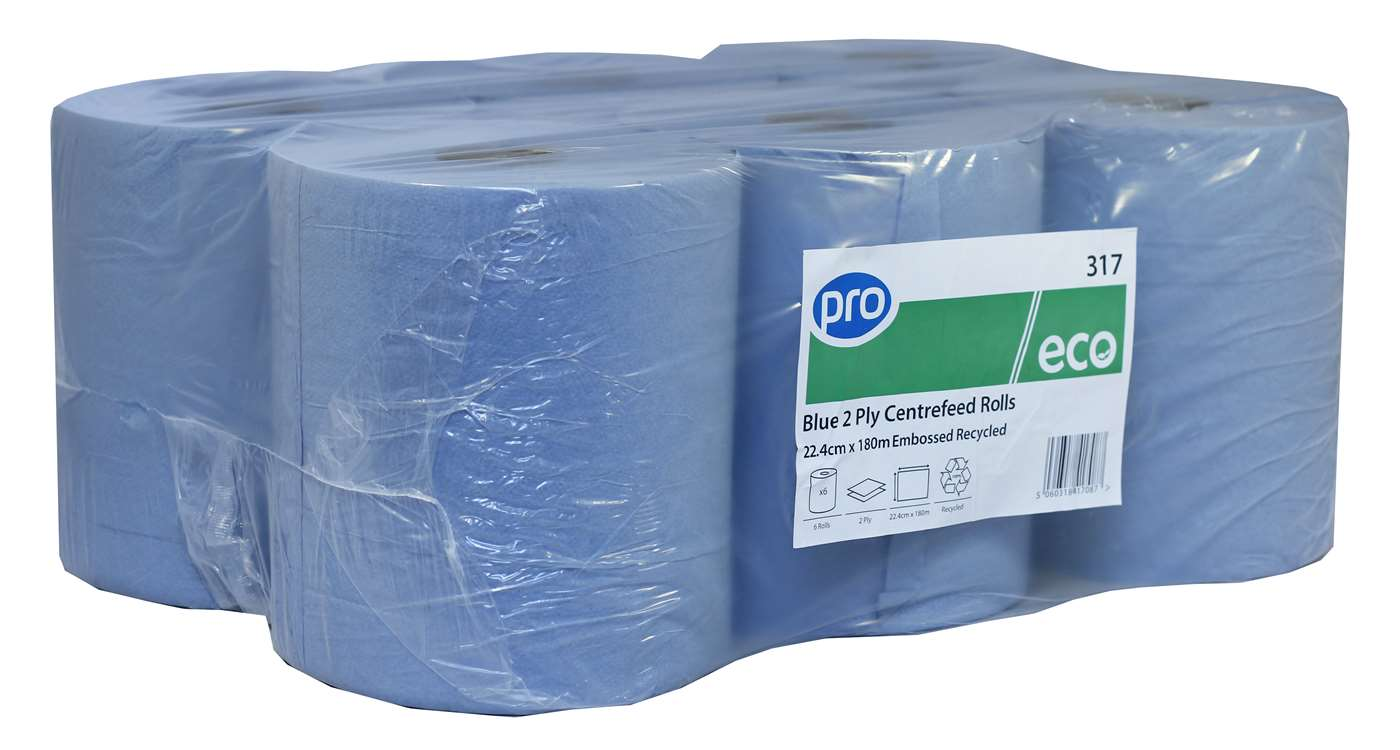 PRO 2 ply Blue Centrefeed Roll
