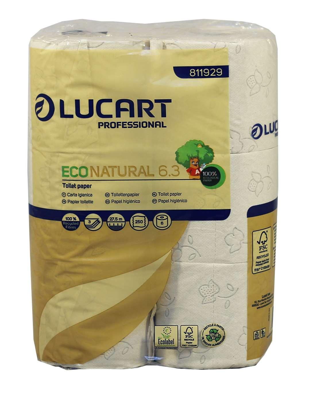 Lucart EcoNatural 250 Sheet 3 Ply Toilet Rolls