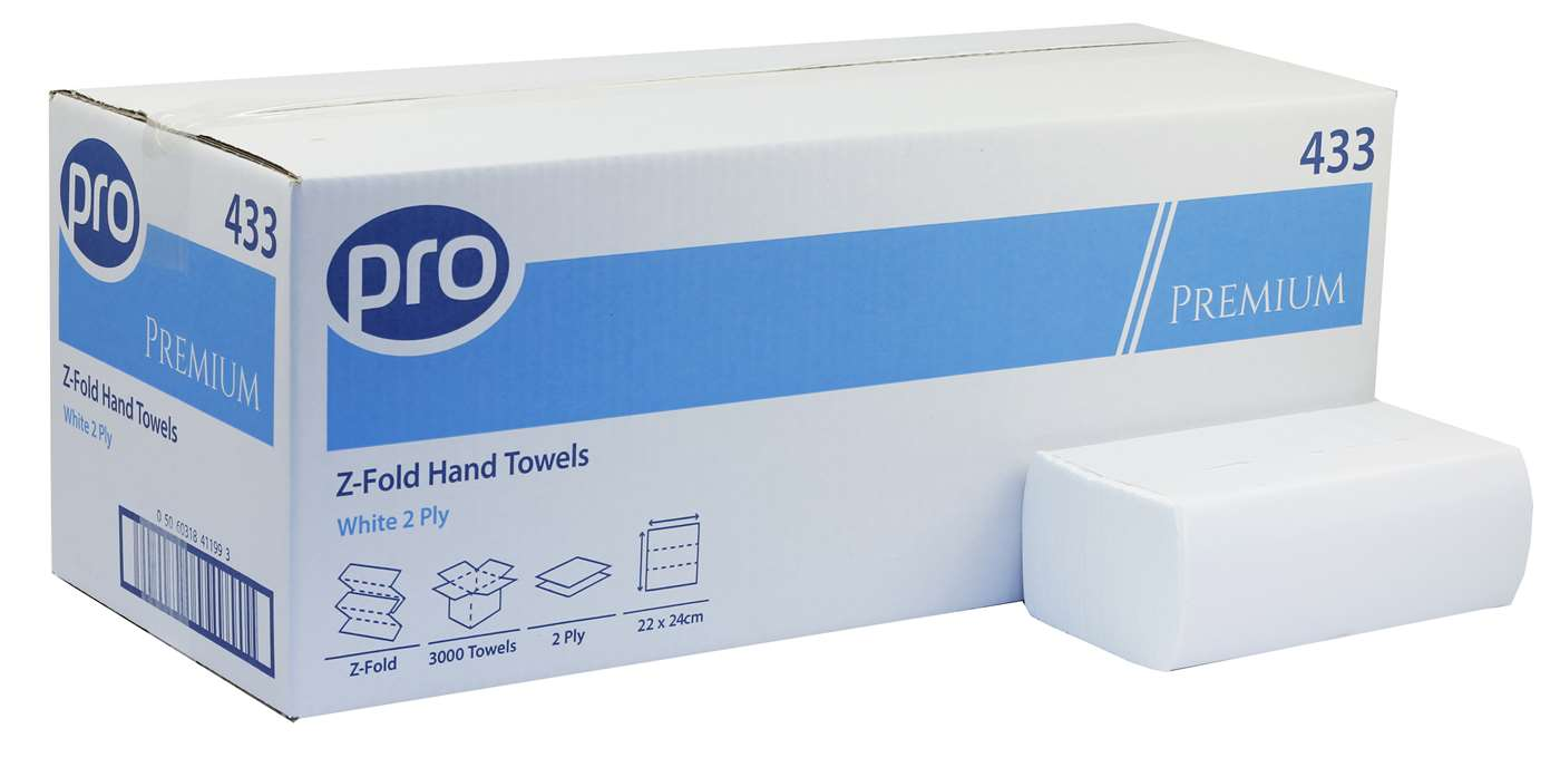 PRO Z-Fold White 2 Ply Paper Towel