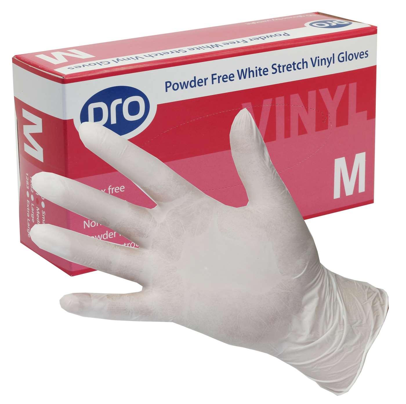 PRO Powder-Free White Stretch Vinyl Gloves