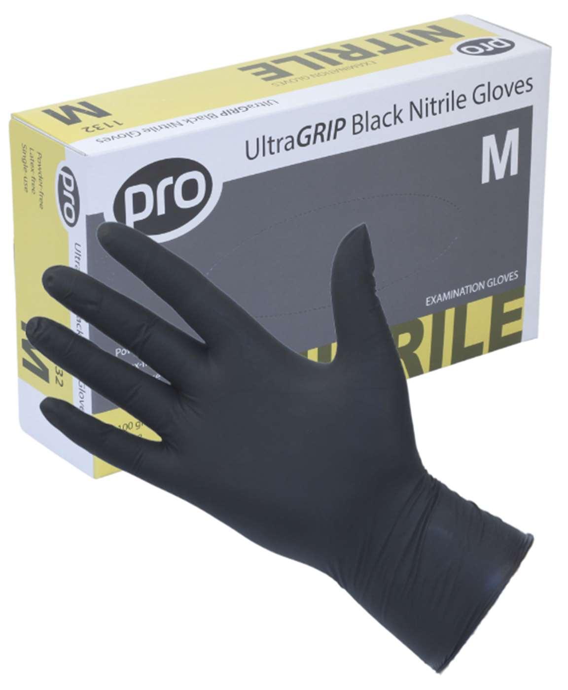 PRO UltraGRIP Black Nitrile Gloves