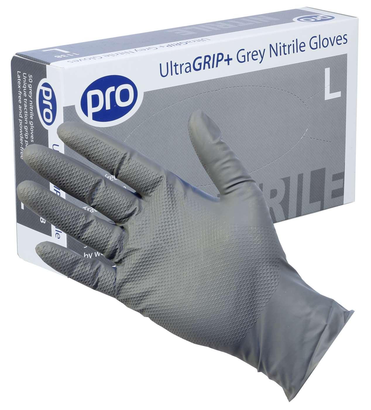 UltraGRIP+ Grey Nitrile Gloves